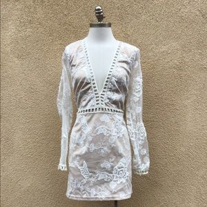 NWT TOBI Nude Embroidered Plunge V Neck Mini Dress